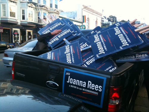 This is where Joanna Rees' signs go to die.   Castro St at 17th.