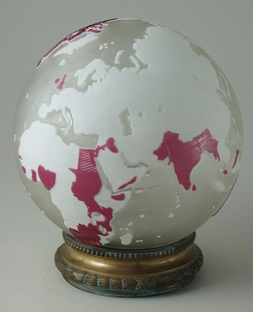 Cameo lighting globe, Thomas Webb & Sons, Stourbridge, UK, BH2332 by Black Country Museums on Flickr.And while I'm on a glass kick, here's one of the most unique piece of Thomas Webb & Sons Cameo glass. Via Flickr: cameo lighting globe carved with map of the world, with the British Empire picked out in red.  For more information please go to blackcountryhistory.org/collections/getrecord/DMUSE_BH2332/