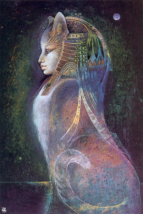loupgarou:  heavymettle:  Goddess Bast by Susan Seddon Boulet  One of my patronesses. One of my favourite facets of the goddess; Her statue watches over my bedroom.