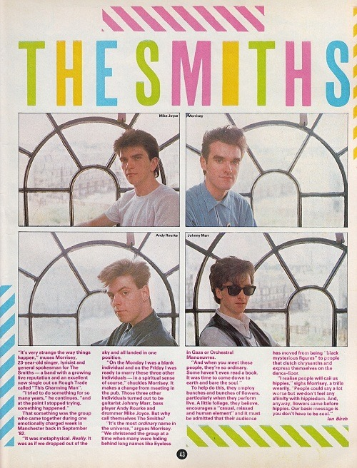 Very short, introductory Smiths article/interview from Smash Hits magazine, 10 November 1983.