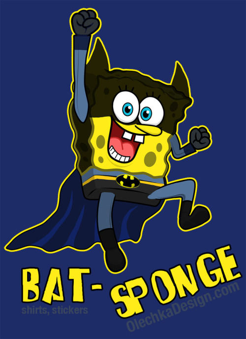 "olechka:  SpongeBob Batman ""Bat-Sponge"" by Olechka (T-shirt available at RedBubble) (more SpongeBob parodies)"