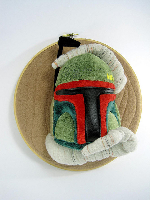 "Becky Gould on Flickr:  Boba Fett's helmet in the clutches of the sarlacc :o One of my pieces made for ""Stitch Wars Strikes Back"" a group art show inspired by Star Wars. The show is at Bear and Bird boutique and gallery in Lauderhill FL. It runs from Aug 12th till Sep 25th. http://bearandbird.com/0811_StitchWarsStrikesBack/0811_StitchWars_webflyer_1200px.jpg"