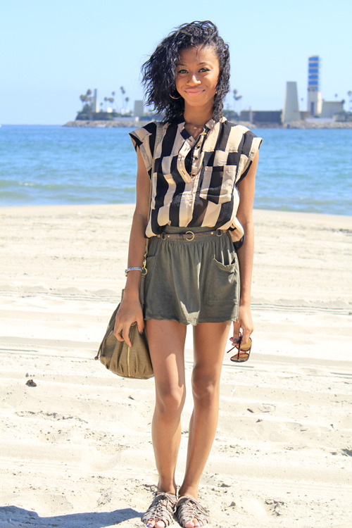 "blackfashion:  California Coastin by Amara Nichole of livinglifewasted.blogspot.comExplain what you're wearing.I'm showing what I would wear for a casual day at the beach. The sandals from urban outfitters and skirt from forever 21 definitly tie into the summer season but I feel the shirt is dressy enough to give the outfit a more polished piece which can also be purchased at forever 21. What does style means to you?Style to me is a big reflection of yourself. Its the quickest way to express yourself to people at first glance. Its a way to let people know what your into. Style to me is also a way to be endlessly creative. You can do so much with style, whether its changing your accessories or wearing a shirt differently. You can change things to the way you like it and the best part is that everybody has their own unique style! Where do you get most of your inspiration from?Although i do follow some trends i feel i just dress to what appeals to my eye. I would say if anything inspires me it would be other fashion bloggers. Seeing the way others put outfits together can give you ideas that you can bounce off and mix with your own personal style. What inspired you to start blogging?Basically what inspired me to blog was my love for streetwear brands. When I was younger I loved brands like Hellz Bellz, Dimepiece, and Married to the mob. I would visit their sites and it would give me so much inspiration and ultimately gave me the idea of having a place where I could show my own style and ideals. Although I still do enjoy street wear brands, I think my style has evolved to different varieties of fashion like sophisticated and edgy for example. What inspired the blog name?As far as the name ""Living Life Wasted"" it was a name that both me and my cousin came up with. In the future we'd like to have our own fashion line with ""Wasted"" incorporated in the title. One misconception that I get alot is that the wasted part in the title means to get drunk which is untrue. Living your life wasted basically means to live your life free and full of fun but overall it's about being true to yourself and being free spirited. What does Black Fashion and or black people in fashion mean to you?Black fashion to me is an accomplishment. Considering the fact that at one time black people weren't highly recognized in the fashion community, it shows a great growth and now some of the best dressed are black people. Im proud that some may include me in the black fashionista category. _____________________ Check out her blog livinglifewasted.blogspot.com and tell her we sent you!"