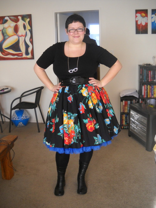 I got my royal blue petticoat from Domino Dollhouse! It is as beautiful as the black and red, and I am so happy to have so many pretty colours to choose from now. Although, maybe I need the green … and maybe I need to have one custom made for my longer dresses … just can't get enough! top and skirt - Dorothy Perkins, petticoat - Domino Dollhouse, tights - Kmart, boots - Overland, belt - Pagani, necklace - bling (I actually wore a different necklace today, but changed it after the photo was taken - sorry this outfit isn't 100% accurate!)