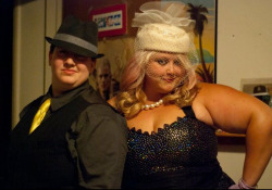 Nik and I all dolled up for Rocky Horror! Oh how we love costumery. Fun fact: That dress was my prom dress. -Photo by Tim-