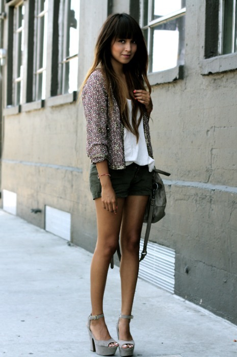 whatdoiwear-:  Sequin jacket: F21 | Tank: c/o Quiksilver | Shorts: All Saints | Bag: All Saints | Platforms: Steve Madden  love this!!!!! inspired