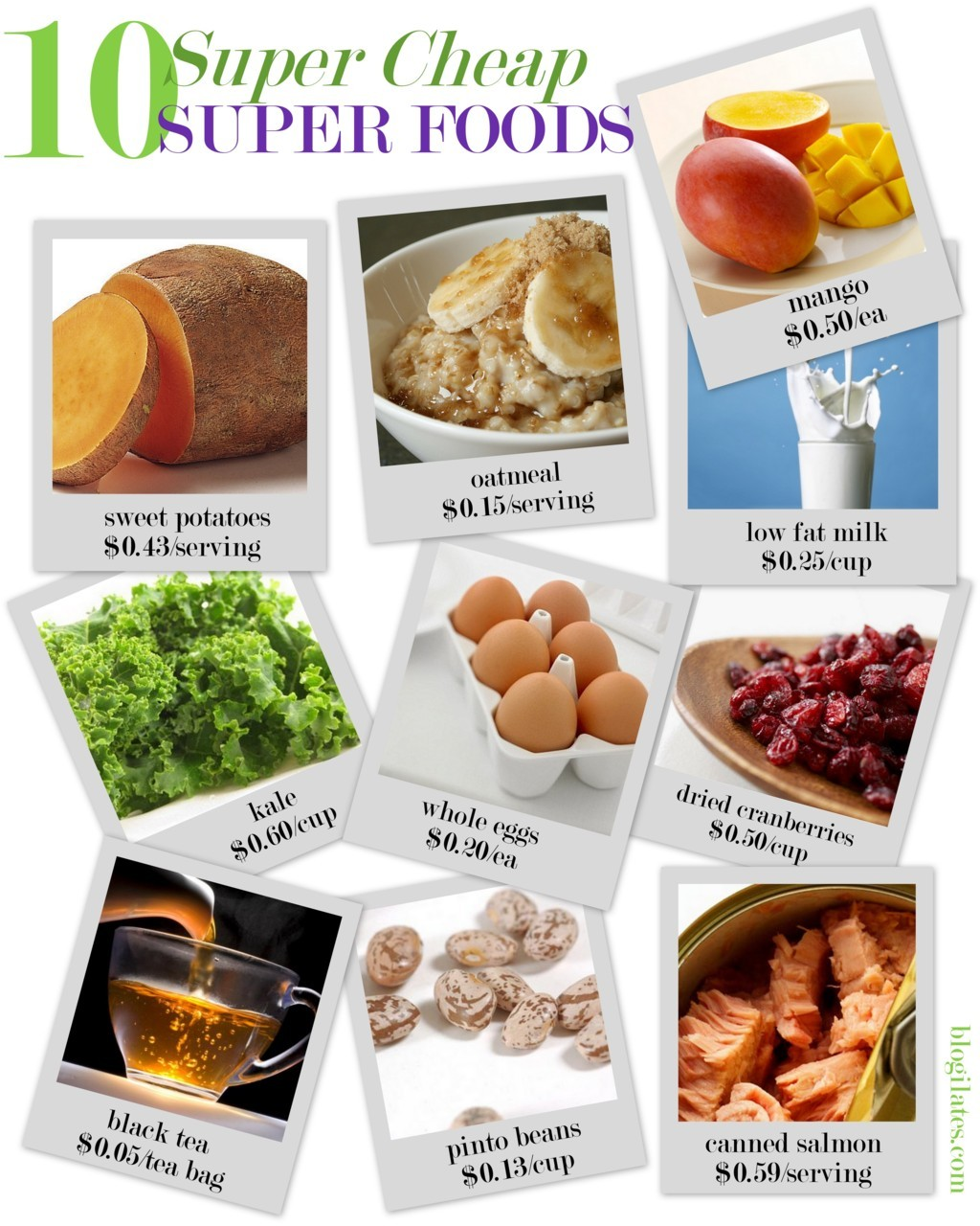 Check out these super cheap super foods! Being healthy does not have to be a luxury. How many of these guys do you have stocked in your fridge or pantry right now? Costs per serving are based on current US market price.