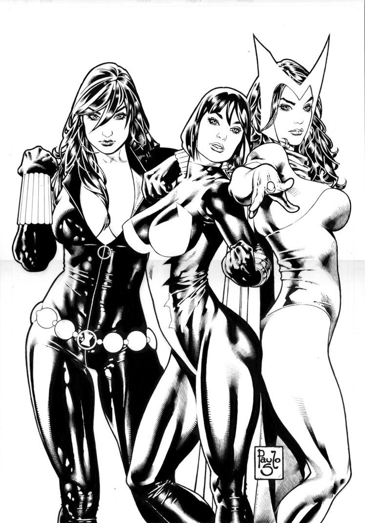 3 Girls of Marvel by.  Paulo Siqueira via http://paulosiqueira.deviantart.com/art/Three-girls-from-Marvel-170127462?q=boost%3Apopular%20marvel&qo=41