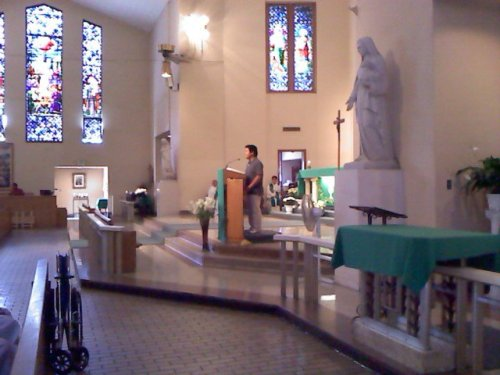 "I spoke yesterday in front of 200 individuals at a Korean Catholic mass at St. Agnes Church.  I spoke to the Spanish-speaking congregation as well, but I spoke to most of them on an individual level.  Between the four volunteers, we managed to get about 200 signatures for a petition to Governor Brown to support AB131.  Compared to the work I did in New York City for AALDEF (asking incredibly sensitive survey questions such as ""What is your immigration status?"" ""How many people live in your house?"") With the Korean congregation, I shared my story and called on them to alleviate the burden that the undocumented students have in California.  Framing this as an education issue rather than an immigration or a political issue has been more effective at reaching out to the Korean congregation while showing that this is an immigration issue has been more effective at reaching out to the Latino congregation.  Korean Catholics tend to be moderate as opposed to the liberal Buddhists and conservative Christians, and it is a challenge trying to engage them politically.  Combining that with the Korean value on emphasis on education, I believe, has helped tremendously. Working with the Korean American community, religion has come into spotlight often.  On the issue of Proposition 8, the Korean Resource Center has had a split with the massive Korean American Protestant community because of its decision to publicly oppose Proposition 8, which halted same sex marriage in California.  To this day, it is challenging to work with the Korean American Protestant community. As KRC sets its eyes on Orange County, we are seeing that the churches are even more conservative.  For example, Sa-rang Community Church, one of the largest Korean churches in Orange County, is affiliated with the Presbyterian Church in America denomination.  Through my observation, most Korean American churches are affiliated with a denomination based in Korea, but in areas without much Korean presence, they tend to be affiliated with an American denomination.  In this case, Sa-rang Community Church is affiliated with the Evangelical (as opposed to Mainline) Presbyterian denomination. I firmly believe that this reflects back to the political attitude in Korea.  About 20% of the Korean population adhere to some kind of Protestant faith (mostly Presbyterian and Methodist), and Protestants have been championing the conservative causes such as closer ties to the United States through a Free Trade Agreement and a hardline stance against North Korea.  Since the transition into a civilian government in the late 80s, the two conservative presidents, Kim Young-Sam and the current president Lee Myung-Bak, both served as elders for their churches.  This attitude has migrated over to the United States, and provides somewhat of a conservative bent for Korean Americans. (Photo courtesy of Kevin Solis)"