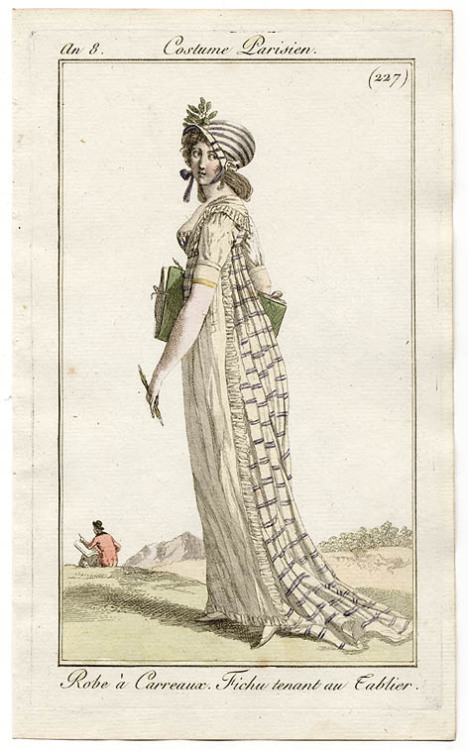 Journal des Dames et des Modes, 1800.  Fabulous gown fabric, fabulous bonnet!