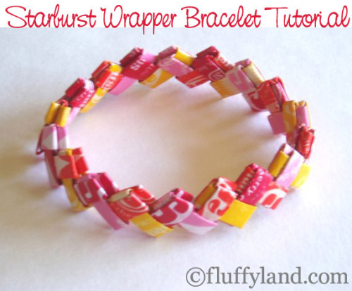 "DIY Starburst Wrapper Bracelet Tutorial! Whys so excited? Because I did these all the time as a kid with gum stick wrappers (when gum was still shaped like gum). Tutorial from Fluffyland Craft and Sewing Land here. You can really do this with any thinnish paper. Good instructions and photos, and I wish I had chosen ""fluffy"" to be in my blog name…"