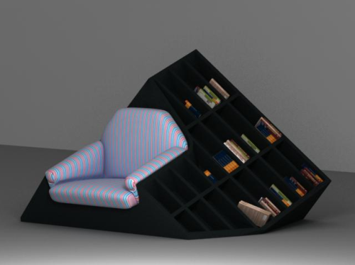 bookshelfporn:  TATIK designed by Tembolat Gugkaev  Give me this with a blood-red or ivory-white seat, and I will die reading in it.