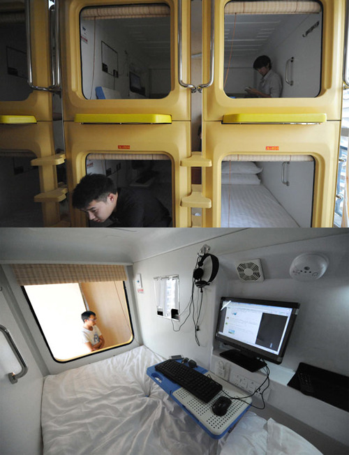 A capsule hotel has opened in Kunming, capital of southwest China's Yunnan Province. The 50-square-metre hotel consists of two floors and ten capsules.  Each capsule measures two square metres and comes complete with a computer/TV, fan and small foldaway desk inside. Each guest also has use of a separate wardrobe. The daily fee for a capsule is 60 Yuan (about $9.30)