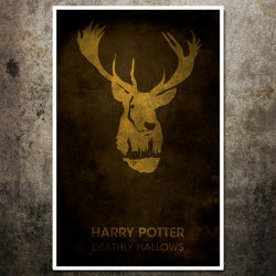 Harry Potter movie poster with artwork inspired by the movie, Harry Potter and the Deathly Hallows. These posters are not only fan-service, they are pieces of fine art. Show off some Potter pride by owning this great print, or give a gift to that friend or family member who calls the Potterverse a home away from home.