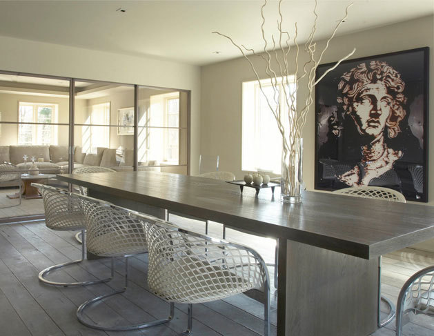 "(via Mar Silver Design - Top High-End Interior Designer, NYC, LA, The Hamptons and elsewhere) To achieve simplicity in design is not as easy as it looks. The neutral tones & select accent pieces make this dining room by Mar Silver Designs ""Simply Stunning"""