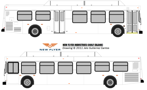 "The Drawing of the 2011 New Flyer C40LF built into MTA NYC specs. New Flyer ceased the older LF models in 2009 with the orders built into 2010 (YRT ordered the last 20 that same year numbered #1001-#1019, some went to HSR due to the Ontario HST shit took effect in July). The contract for this order was awarded in July 2010 for a base order of 135 buses; 90 for New York City Transit and 45 for MTA Bus. Options in the contract are available for 285 buses for New York City Transit, 225 buses for MTA Bus, and 100 buses for assignments unknown at this time, for a total of 610 buses. However, both MTA and New Flyer have settled for the older models built in 2011 and 2012 (they refused to have C40LFRs) and some XD40s that same year. Thanks to those guys, MTA paid up some extra money to New Flyer for these. Otherwise, people in Ontario are thinking ""where's my 2011 D40LFs?"" (Metrolinx agencies deserves the Xcelsiors) ISL-G@280hp / B400R5"