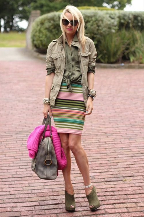 Green in a mix of military, stripes and color blocking (via theglitterguide:  (via Atlantic-Pacific)