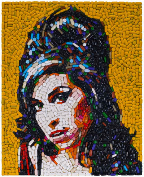 buzzfeed:  Poignant much? [Portrait of Amy Winehouse Made Out of Pills]