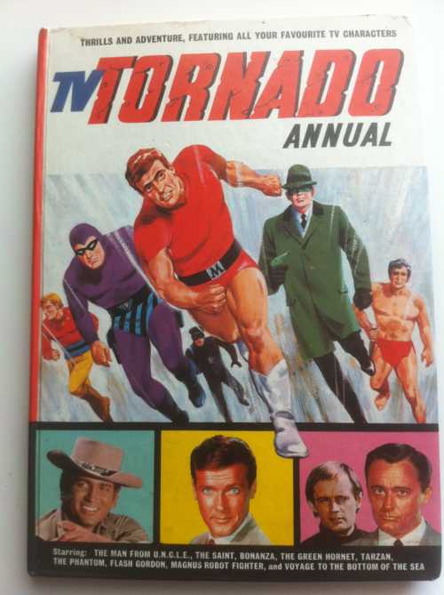 "Added to my shelves today - 1967 TV Tornado Annual. This blast from the past is almost a primer on characters in my ""want to write someday"" list: Man From U.N.C.L.E., Green Hornet, The Phantom, The Saint."