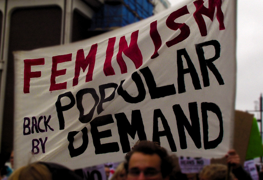 "andyouhavetogivethemhope:  [Image: A white banner at a protest that says, ""Feminism: Back due to popular demand.""]"