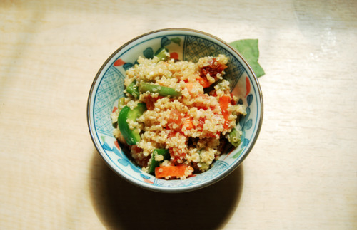 Quinoa Garlic Miso Salad 1/2 cup Quinoa cooked handful of fresh green beens steamed 2 medium sized carrots sliced in half moons 2 medium ripe vine tomatoes chopped 3-4 pieces of sun-dried tomatoes chopped 1/2 a green pepper chopped Dressing 2 garlic cloves minced or chopped very finely 2tbs of lime juice or to taste 1tbs White Miso ( I used kaiseki ama miso) 1tsp salt or to taste 2-3 tbs olive oil Combine the veggies with the cooked quinoa, its ok if its hot, even better. In a separate bowl combine all the dressing ingredients except for the miso. after there well combined and suite your taste add the miso. Add as much miso to the consistency of pudding adding more oil or lime juice as necessary. Depending on the miso you use it will have a different taste. I used kaiseki ama miso, which is rather sweet compared to other white misos.  Combine sauce and ingredients and let sit overnight in the fridge, or at least for a couple of hours so all the flavors really merge together.