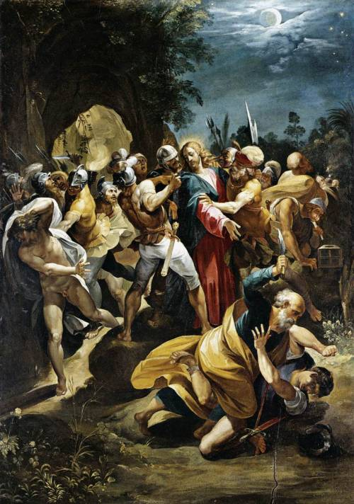 """Betrayal of Christ"" - Borghese D'Arpino - 1596 What was Jesus doing with a naked boy in the Garden of Gethsemane late at night?   The naked 'certain young man' is pictured on the left in this painting. Why was he naked? Why did Judas really kiss Jesus and why did the police raid the park? Inquiring minds want to know. And there followed him a certain young man, having a linen cloth cast about his naked body; and the young men laid hold on him:and he left the linen cloth, and fled from them naked. - Mark 14:51-52 (KJV)"