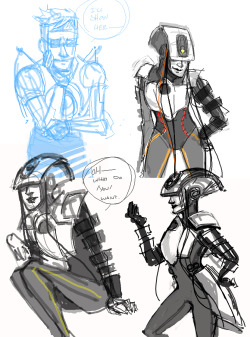 More quick Tegaki doodles.  My Glados android/human design, and hawks wheatley I wish my quick doodles actually looked pretty, buuut…nope! lolol have some chicken scratch….