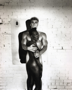 -outlying-:  Helmut Newton, Grace Jones & Dolph Lundgren, 1985