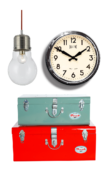 watt pendant (john lewis)/50's electric clock (newgate)/trunks (berry red)