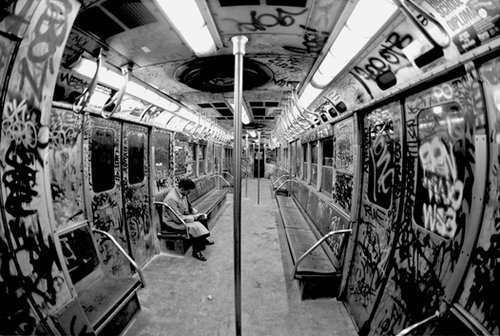 quest777:  NYC TAGED UP TRAINS 1980s  I grew up with these trains. They had no air conditioning. In the summer, these cars were hot as fuck! They broke down all the time. It was a mess. Plus the graffiti always looked cooler on the outside, anyway.