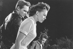 "Dennis Hopper, Natalie Wood and James Dean in ""Rebel Without a Cause"" Hopper was so enthralled with Dean that while on the set filming the ""Chickie Run"" scene, he grabbed Dean and threw him into one of the cars to corner him and said, ""You gotta tell me what you're doin', because I don't understand.  Tell me, should I go to New York and study at the Actor's Studio?  Man, tell me what I should do.""  Dean told him very simply, ""Don't go to New York and study. Don't act.  OK?  Just, you know– do it.  Don't act it, don't show it– just do it."" Read more…"