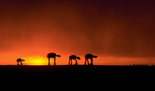 Evening // by ezhicoff A family of AT-AT's, on their way home. (via pacalin)
