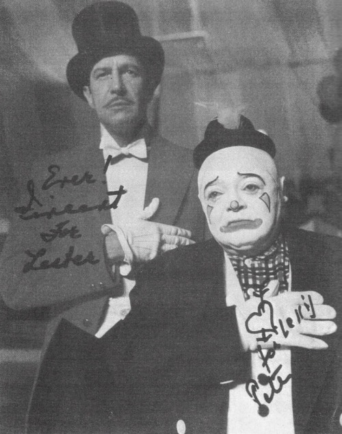 Peter Lorre and Vincent Price in an autographed photo addressed to their publicist. The photo is from The Big Circus, 1959.