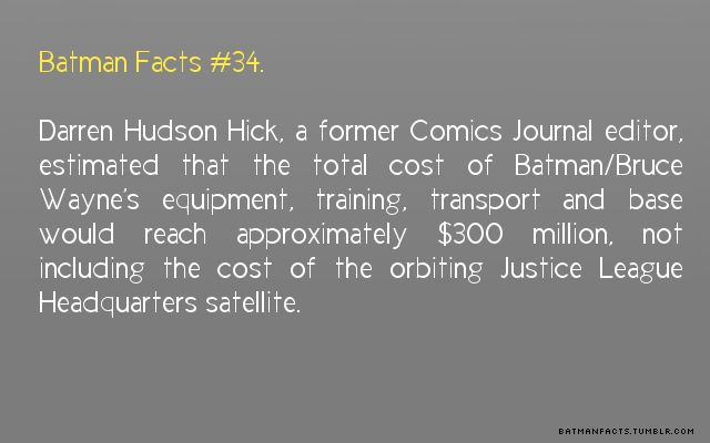 IT WOULD COST OVER $300 MILLION TO BE A REAL LIFE BATMAN