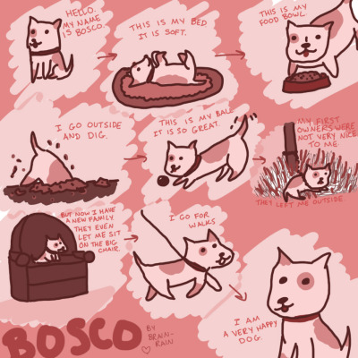 A short comic about a doggie named Bosco who got a second chance. I just wanted to draw something cute today. Also I enjoy writing dialogue for dogs. So there you go. Bosco the dog.