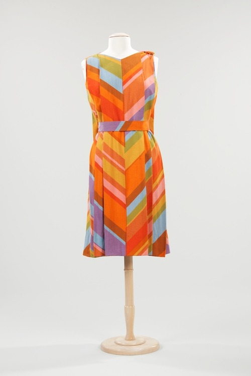 A very colorful linen shift dress with a cape-like back designed by Jack Lenor Larsen in 1960 or 1961.