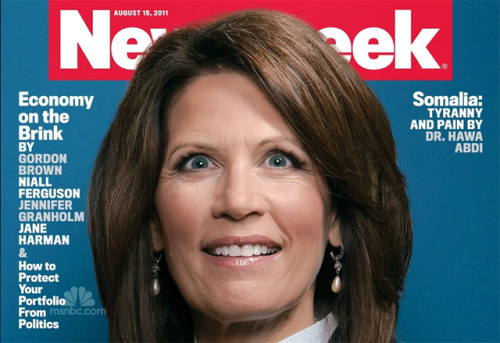 "shortformblog:  Surprise: People find Newsweek's Bachmann photo unflattering No kidding: Newsweek's cover on Rep. Michele Bachmann, the 2012 presidential candidate, has caused quite a stir on the interwebs over the past couple of days. It's even inspired a couple of memes, though it's mostly inspired anger over the magazine's approach. Example: Terry O'Brien, the president of the National Organization for Women, said the ""'Queen of Rage' is something you apply to wrestlers or somebody who is crazy."" Was this photo the best choice for the magazine's cover? Take a look at the magazine's own outtakes and judge for yourself. source Follow ShortFormBlog  In other words, she looks wacky because SHE IS WACKY."