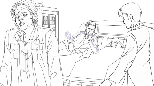Back to the next Superwho pic.  Lines are about mmm… 90% done.  Sam's face looks pretty awful resized like this.  It'll improve with the colors, I promise.  I'll probably tweak a few things anyway. I debated painting Sexy and Baby in as part of the background, but they are characters too gosh darnit so they get their own line art.