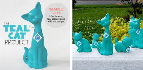 The Teal Cat Project, put together by vegan geniuses Isa Chandra Moskowitz and Denise Muller is AWESOME. They buy a bunch of cat tchotchke from thrift stores and the like (or you can donate some!), then spray-paint them teal (the best color, no contest), then sell these sparkly, snazzy new cats to you for $25. All the money goes to help real cats in the ghetto! Or in suburbia! Or from mansions! Kidding, not those mansion cats, they're doing A-OK. The cats are limited, and I have this sinking feeling that they're almost out, and I'm finna buy one soooo if you want in, DO IT TO IT. And if you don't make the cut (screw-up!), then you can follow them on Twitter and find out when the next run will happen. DONE AND DONE! Now, go get you a cat, you CCL. And while you're at it, read all about why they're doing it, and spread the word, you CCL.