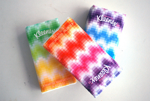 "I'm no authority on tissue package design or anything, but Kleenex's recent ""Groovy"" designs for their everyday tissue line were so nice I picked up three just for lookin' pretty around my apartment. It doesn't look like you can buy them via their site, but you can probably hunt them down at Wallgreens or CVS or whatever your local pharmacy happens to be."