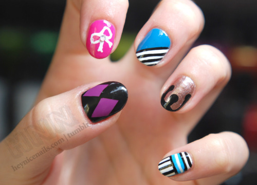 heynicenails:  Mix print with: Zoya Breezi and Kieko, Orly Rage, Nars Écume, CND Blackjack, OPI Shorts Story and No Room for the Blues.