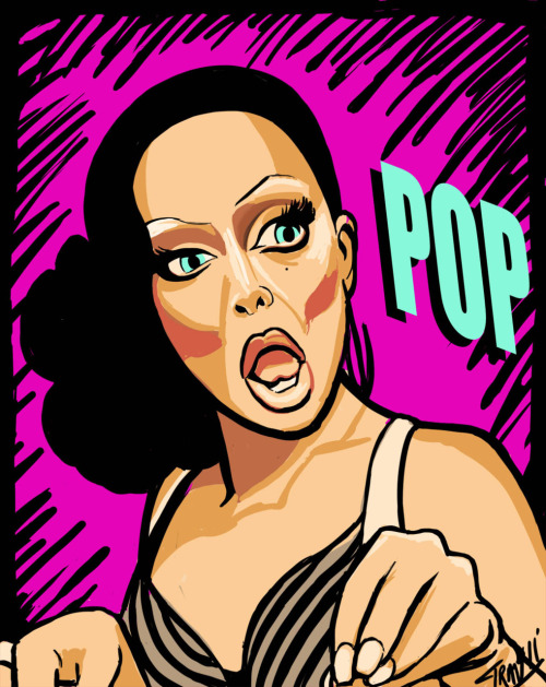 Drag queens make me happy. Do you watch Drag U? Seen RuPaul's Drag Race? Pure happy beginning to end. One queen superstar I was hesitant to jump aboard the lovetrain for: Raven. She was from Season 2 of Drag Race. She now shows up on Drag U quite often and I am totally loving her. One particular scene she reads another queen and ends the dig with a an overemphasized mouth pop. FRIKKIN FIERCE! I had to capture the pop heard around the world. Tonight's art piece pays tribute to Raven and her shady self.WORK DAT SHIT BISH!!!!!! Wacom straight into Photoshop August 9, 2011 PS- Big applause to RuPaul's Drag Race Tumblr for having me stumble across the AMAZING gif they posted of the mouth pop. Thanks!!!!