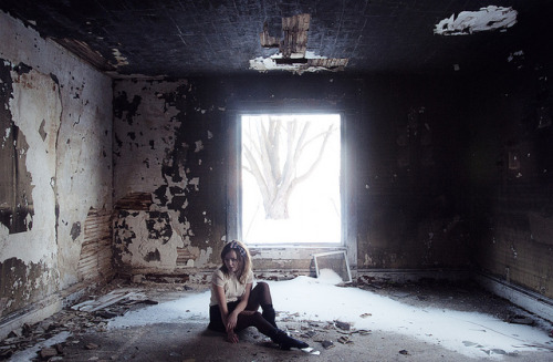 untitled by yyellowbird on Flickr. | girl cari abandoned lonely house leafriver illinois snow winter tree window fire burned