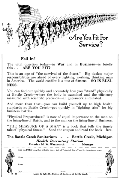 Battle Creek Sanitarium, 1917