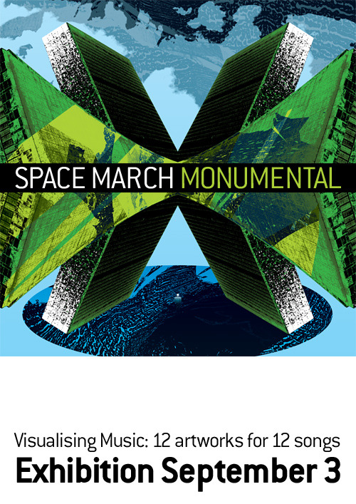 Space March – Monumental Saturday 3rd September - Friday 16th SeptemberThe Space March album Monumental is a collection of 12 songs and artworks by Craig Simmons. Each artwork is a visual response to the corresponding song. Some artworks echo the feeling of the music or the sentiment of the lyrics, whilst other responses provide an alternative perspective to the meaning of the song. Artworks are available as large format, limited edition canvas prints.Craig is an artist, musician and digital designer. He has worked in the global digital and Australian Music Industry for 18 years holding the position of Online & Creative Director at Sony Music till 2010.Opening: Saturday 3rd September, 3pm - 6pm www.spacemarch.com