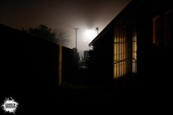 Behind a unit on a foggy night.  Photo by Me