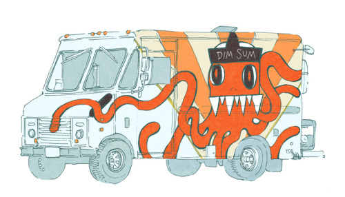 Day 63/100 Food Trucks A few years ago, I heard about Kogi Taco opening up on the west coast. Taco trucks have been around forever, but not like this: Kogi blended Korean and Mexican tastes together into menu items like short rib tacos and kimchi quesadillas. Even better, twitter and bookface made it easy to pinpoint exactly where they were at any given time. On one of my trips back to LA I waited in a Kogi line for hours off a random street corner in Northridge. A two hour wait in the valley - incredible! So when Dim and Dem Sum opened up in Cleveland, I was ecstatic. Finally, Cleveland had its own food truck! Many others have followed: I see Umami Moto regularly at Shaker Square Farmer's Market and have had a delicious lamb burger and a crazy mac-and-cheese-pulled-pork-grilled-cheese sandwich from two other trucks I can't name right now. (Thanks for the bite, J.P!) Now there are regular food truck gatherings like C-Town Chow Down and Walnut Wednesdays where you can pick and choose as you please.I say, more food trucks all the way. I want to start a cornbread truck. Or a horchata truck. Or an Asian bakery bread truck! The possibilities are endless…
