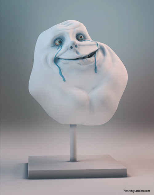 justinrampage:  The creepy looking Forever Alone meme got a complete 3D makeover by artist Henning Sanden. Check out the actual printed model here. Forever Alone Guy by Henning Sanden (deviantART) (Twitter)
