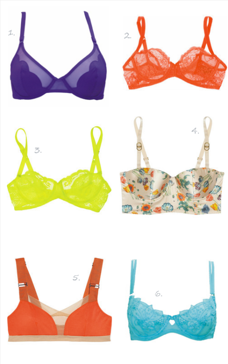 Brassieres in rainbow hues. Cutesy. ^__^