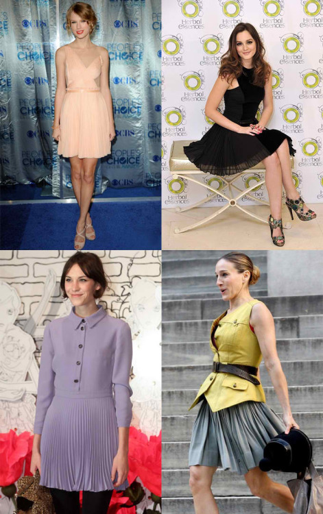The different looks of accordion pleats on celebrities! Love em all!